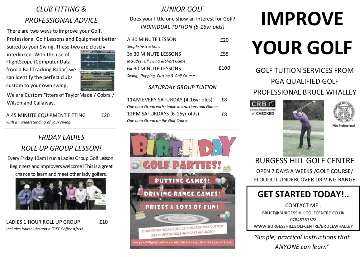Bruce Whalley Golf Tuition Front